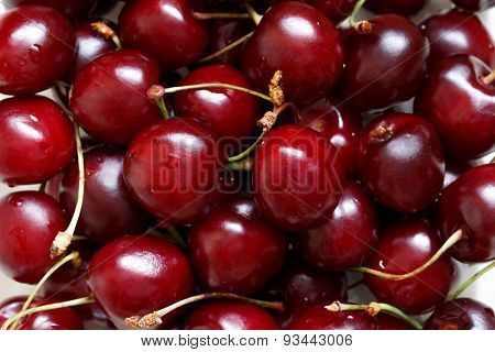 Close up of fresh ripe cherry berries poster