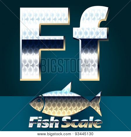 Vector set of fish scale font. Letter F