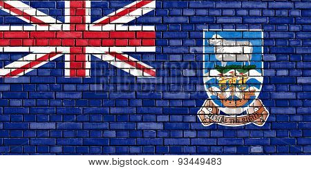 Flag Of Falkland Islands Painted On Brick Wall