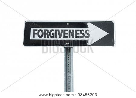 Forgiveness direction sign isolated on white