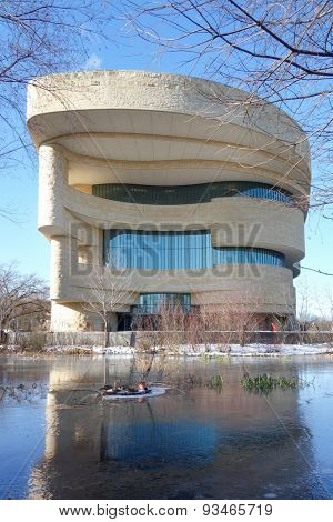 WASHINGTON, DC - JANUARY 09, 2015: The National Museum of the American Indian. The Museum is dedicated to the life, languages, literature, history, and arts of the Native Americans.