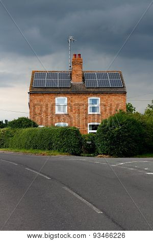Symmetrical House Solar Panels Rain Cloud