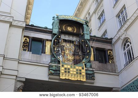 Detail Of The Famous Jugendstil Ankeruhr In Vienna