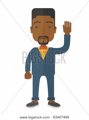 A failure black businessman standing waving his hand. He needs help. Bankruptcy concept. A Contemporary style. Vector flat design illustration isolated white background. Vertical layout