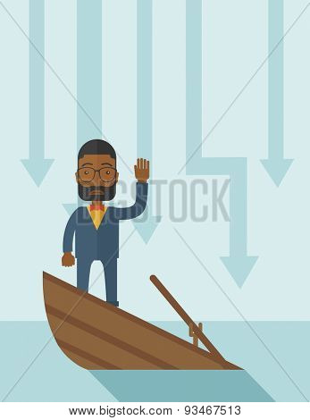 A failure black businessman standing on a sinking boat with those arrows on his back pointing down symbolize that his business is loosing. He needs help. Bankruptcy concept. A contemporary style with poster