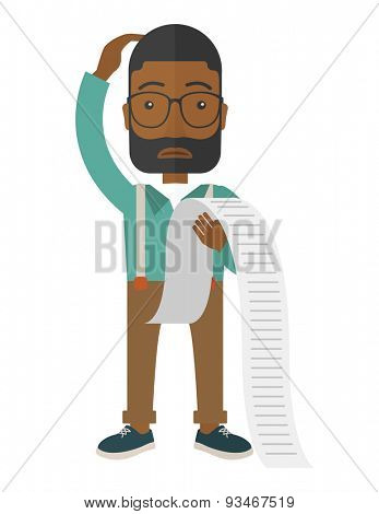 A sad african-american employee  standing holding a paper feels headache and worries about paying a lot of bills. Problem, worries concept. A Contemporary style. Vector flat design illustration