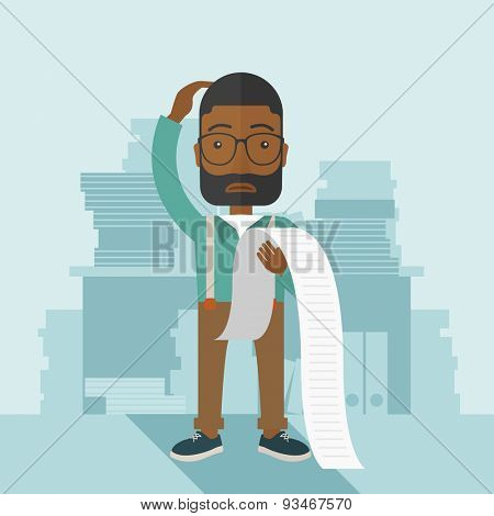 A sad african-american employee  standing holding a paper feels headache and worries about paying a lot of bills. Problem, worries concept. A contemporary style with pastel palette soft blue tinted