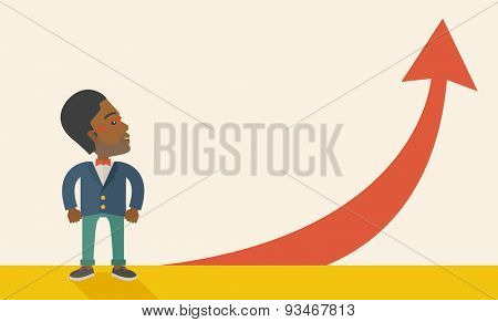 An african-american businessman standing beside the red arrow pointing up. Successful business concept. A Contemporary style with pastel palette, soft beige tinted background. Vector flat design