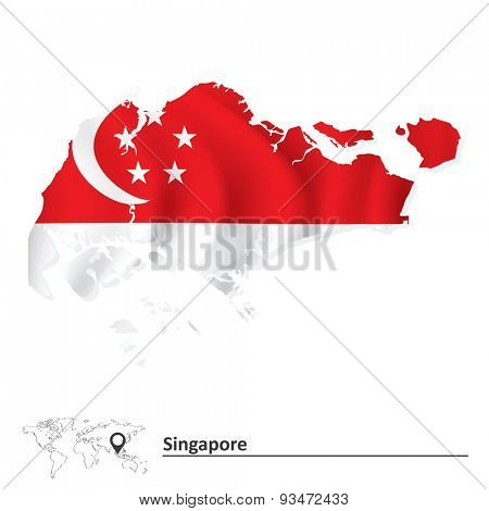 Map of Singapore with flag - vector illustration
