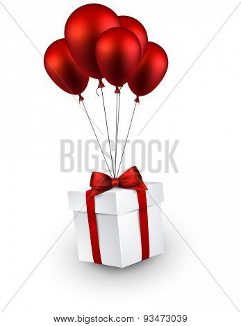 Gift box with red bow flying on balloons. Celebration background. Vector illustration.