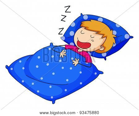Child sleeping and snoring on a white background