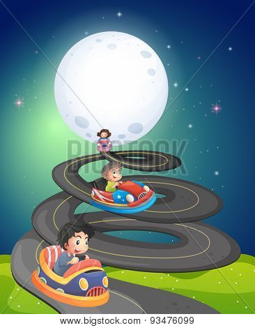 Children driving car on the fullmoon night