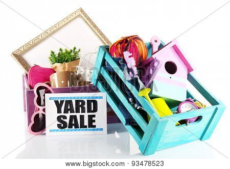 Heap of unwanted stuff ready for yard sale isolated on white poster