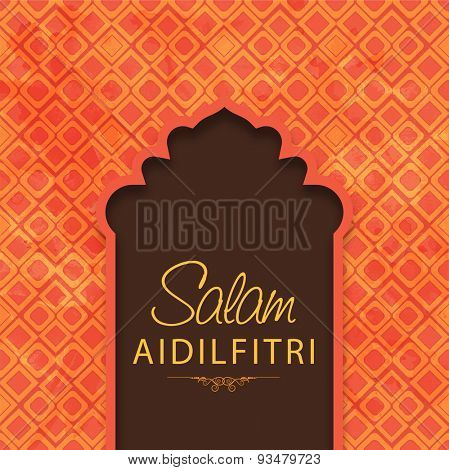 Stylish text Salam Aidilfitri for muslim community festival, Eid Mubarak celebration. Can be used as greeting or invitation card design.