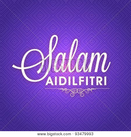 Stylish text Salam Aidilfitri on glossy seamless background for muslim community festival, Eid Mubarak celebration.
