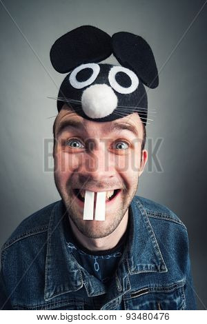 Strange man with mouse ears