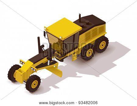 Isometric icon representing heavy yellow grader
