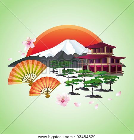 Japanese Abstract Background With Fans, Mountain, Red Sun