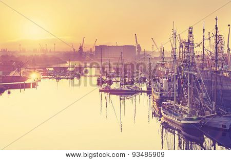Vintage Toned Beautiful Sunrise Over Harbor.
