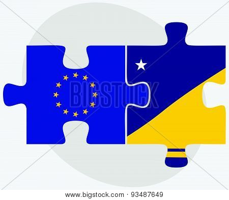 European Union and Tokelau Flags in puzzle isolated on white background. poster