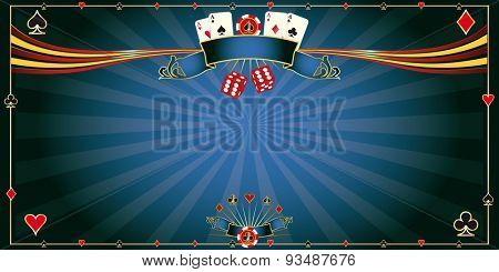 Greeting card blue Casino. A horizontal casino background for a greeting card