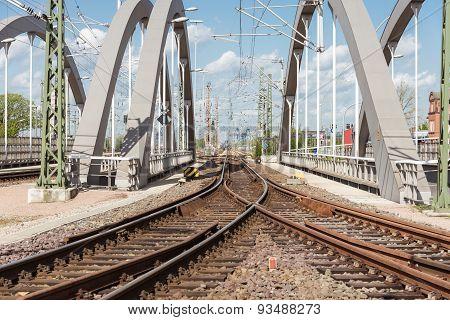 Rail track over a railroad bridge in the harbor of Hamburg