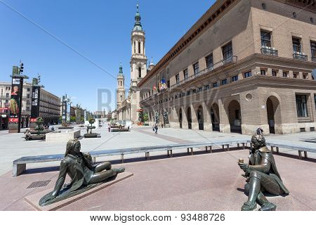 Main Square In Zaragoza, Spain