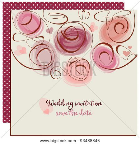 Wedding invitation or greeting card, abstract roses in trendy colors