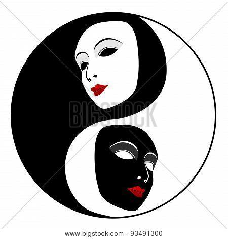 Masks. Ying Yang Symbol
