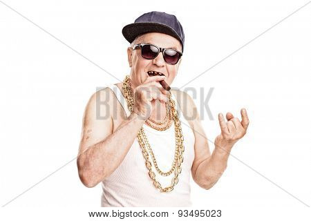 Toothless senior rapper smoking a cigar and making a hardcore sign with his hand isolated on white background