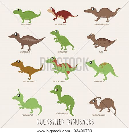 Set Of Duckbilled Dinosaurs