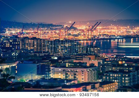 Port Of Seattle At Night
