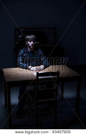 Suspect Man In Interrogation Room