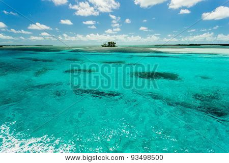 Skyline Over A Small Island In The Sea