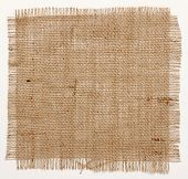 texture of Burlap hessian square with frayed edges on white background poster