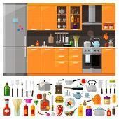 modern kitchen furniture and kitchen utensils. vector. flat illustration poster
