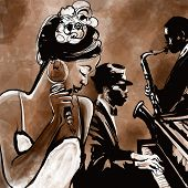 Jazz band with singer, saxophone and piano - vector illustration poster
