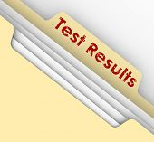 Test Results words stamped or typed on a manila file folder tab to illustrate diagnosis or prognosis from a physical evaluation or assessment poster