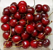 Close up of fresh ripe cherry berries poster