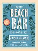 Vintage Beach Bar template, banner or flyer design for summer weekend. poster
