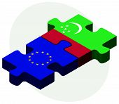 European Union and Turkmenistan Flags in puzzle isolated on white background. poster