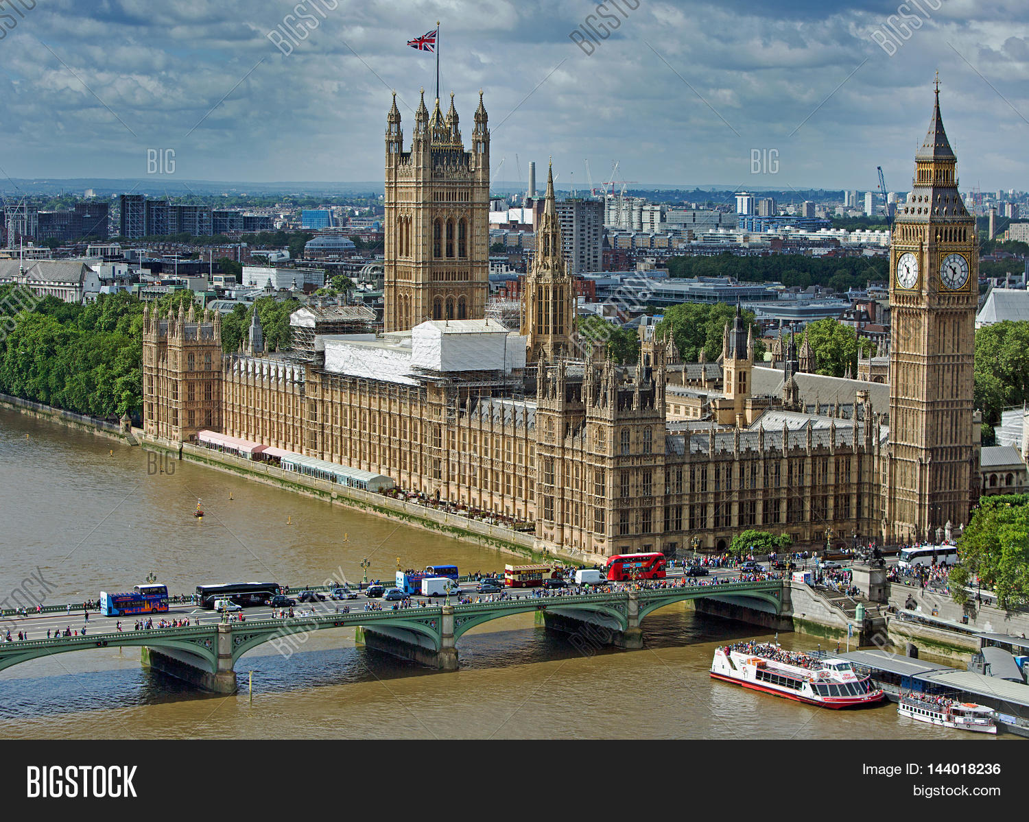 Birdseye View Of London Skyline With Houses Parliament And Ben Along The River Thames