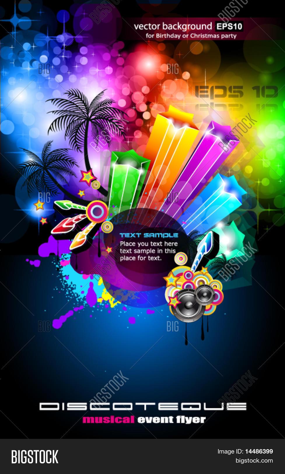 Top Disco Dance Tropical Music Flyer Vector & Photo   Bigstock GE17