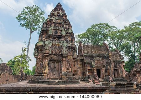 Banteay Srei Castle Or Banteaysrei Khmer Temple At Angkor In Siem Reap Cambodia