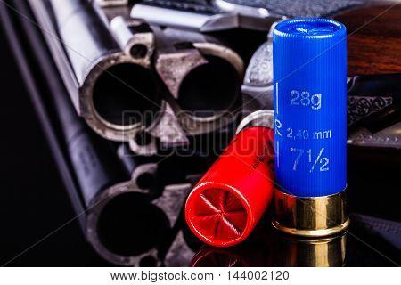 Shotgun On Black With Cartridges