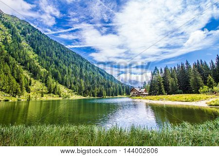 The lake Nambino in the Alps near Madonna di Campiglio Trentino Italy