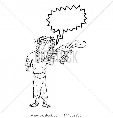 freehand drawn speech bubble cartoon gross zombie
