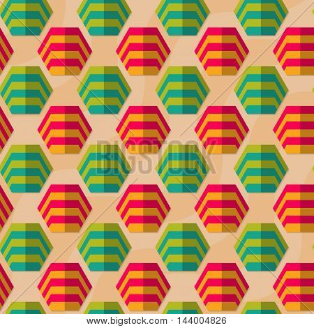 Retro Fold Striped Hexagons In Row
