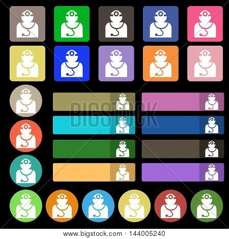 Doctor With Stethoscope Around His Neck Icon Sign. Set From Twenty Seven Multicolored Flat Buttons.