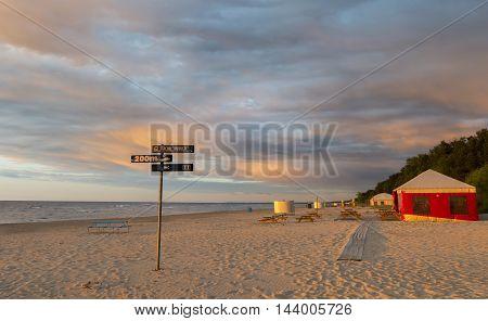 Sunset at coastal landscape in Jurmala - famous international resort of Latvia